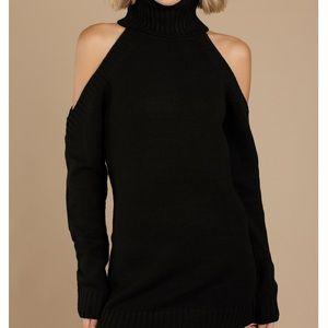 Cold shoulder turtleneck sweater dress